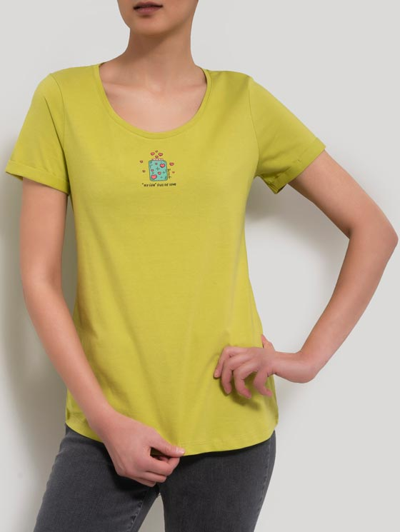تی شرت یقه گرد چاپ بطری قلب
