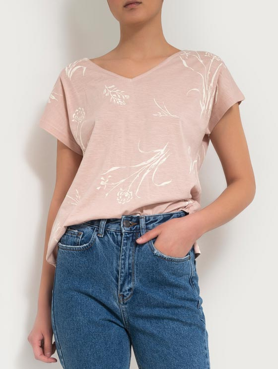 تی شرت یقه هفت چاپ گل